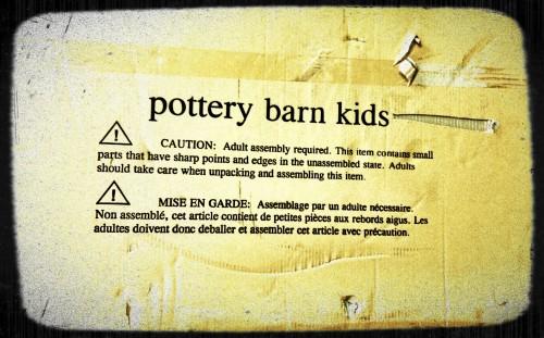 Pottery Barn Warning